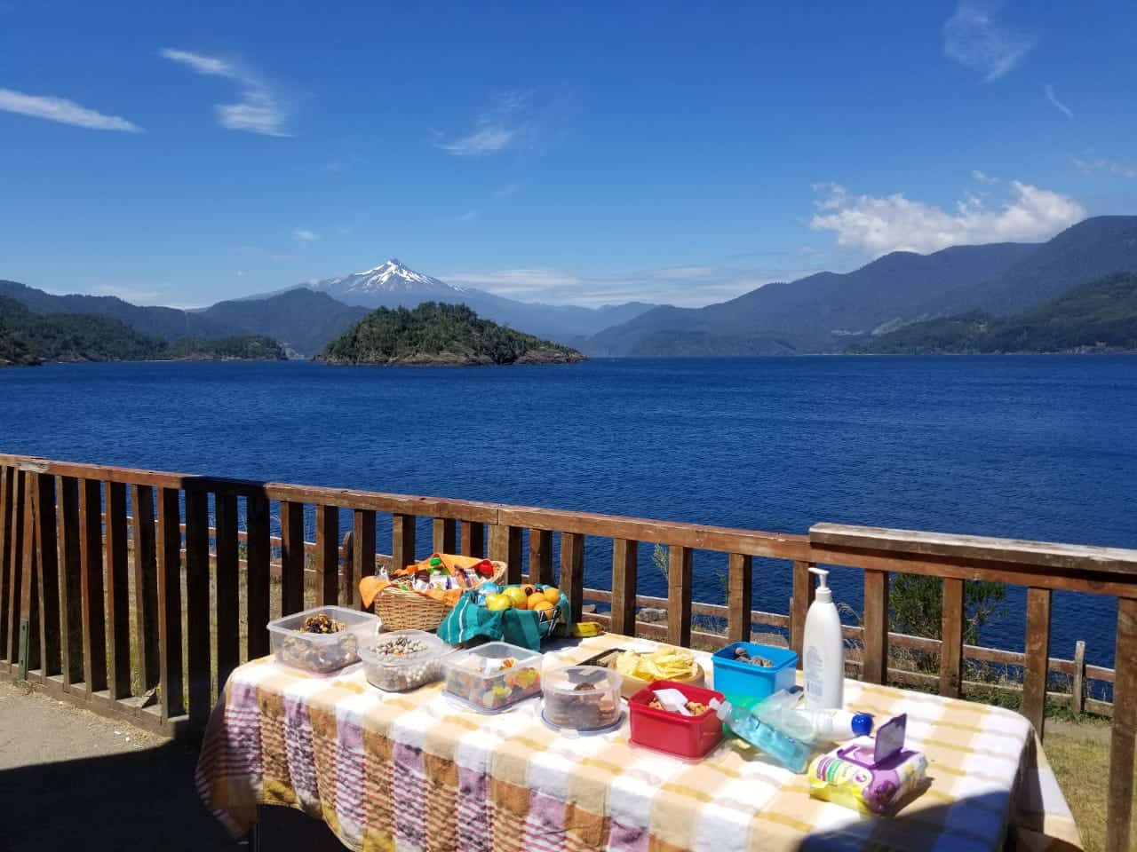 lake volcano table lunch picnic