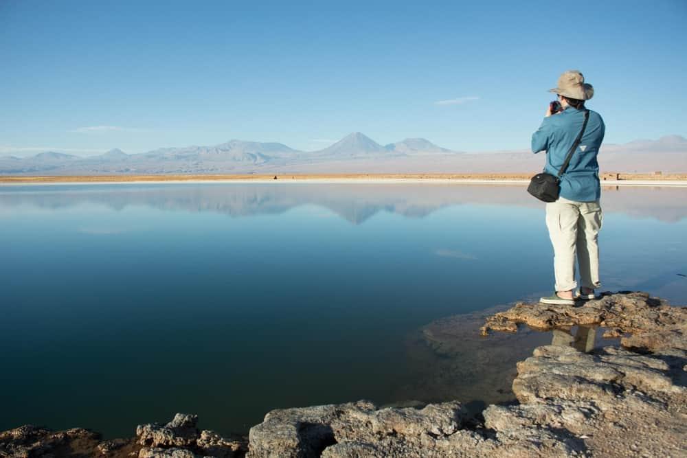 lagoon desert volcano person camera