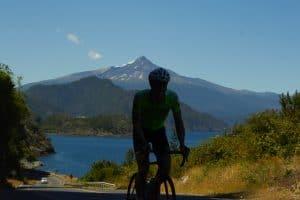 biker volcano lake nature