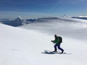 Backcountry skiing on the Choshuenco Volcano