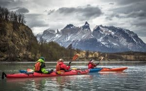 Kayak Women Torres del Paine view