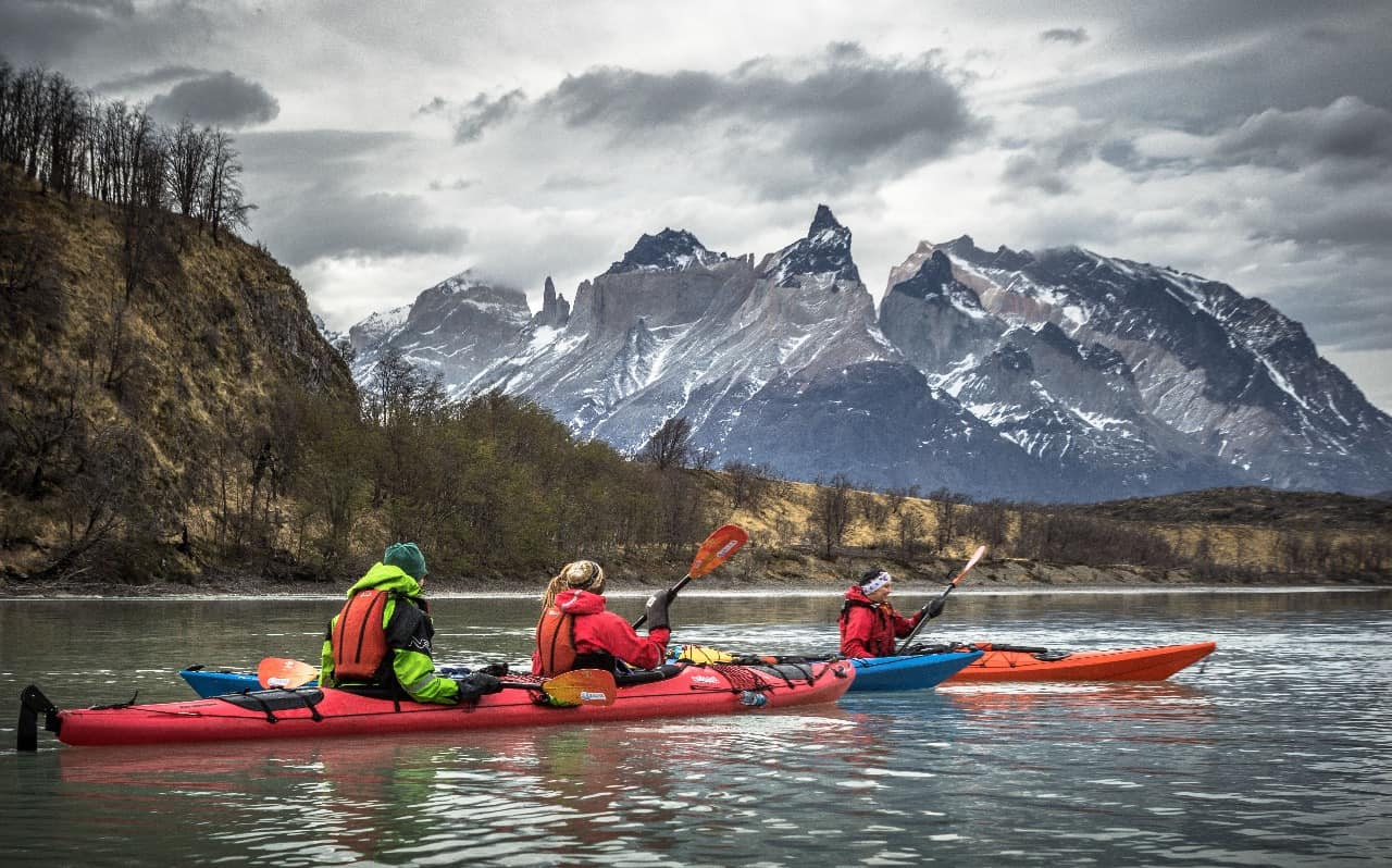 Kayak Women Torres del Paine view