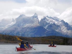 Kayak with Los Cuernos background